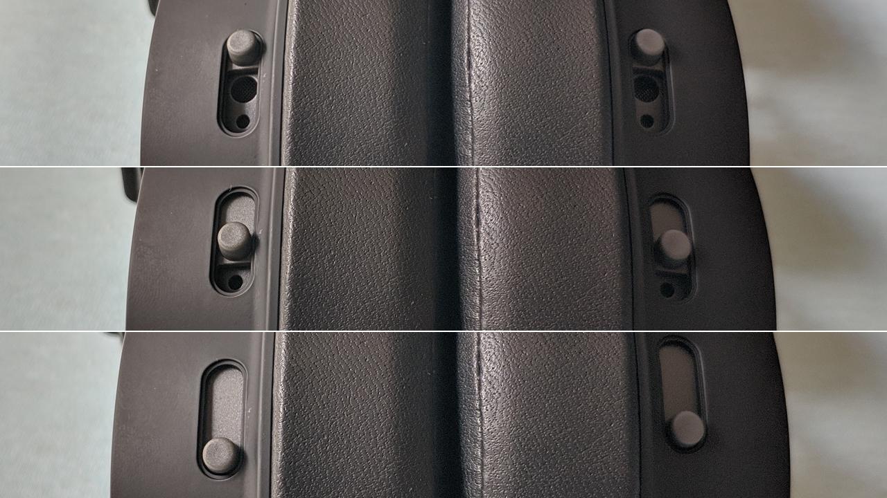 Posições das chaves que controlam a entrada de ar no HyperX Cloud Alpha S